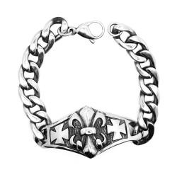 GO0014 BOBIJOO Jewelry Curb chain Bracelet stainless Steel Silver Templar Fleur-de-Lys Cross