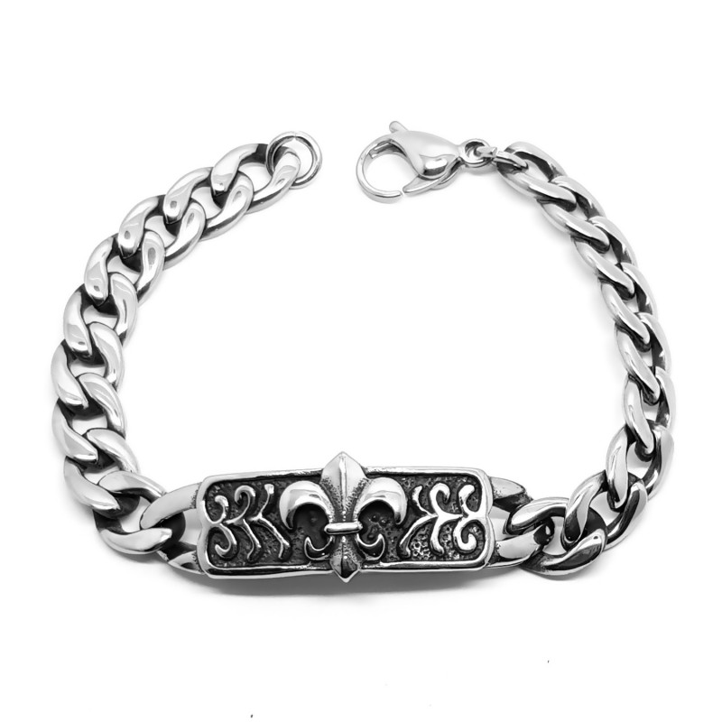 GO0015 BOBIJOO Jewelry Panzer-Armband Edelstahl Silber Templar Fleur de Lys