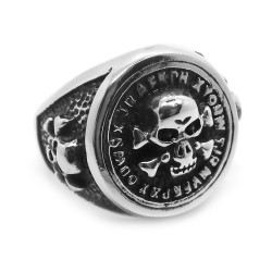 BA0162 BOBIJOO Jewelry Signet ring Round Ring Biker Skull Death's Head Steel