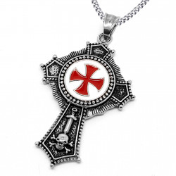 Pendentif Acier Templier Croix Pattée Rouge bobijoo