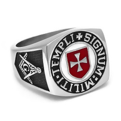 BA0158 BOBIJOO Jewelry Chevalière Bague Franc-Maçon Templier Templi Signum Militi Rouge