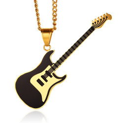 PE0150 BOBIJOO Jewelry Anhänger E-Gitarre Rock Stahl, Gold, Schwarz, Blau, Rot