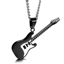 PE0151 BOBIJOO Jewelry Ciondolo Chitarra Elettrica Rock In Acciaio Nero Oro Argento + Catena