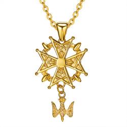PE0155 BOBIJOO Jewelry Ciondolo Croce Ugonotta Protestante Sud Acciaio Oro + Catena