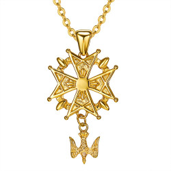 PE0155 BOBIJOO Jewelry Cross Pendant Huguenot Protestant South Steel Gold + Chain