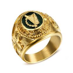BA0265 BOBIJOO Jewelry El Anillo De Sellar El Hombre Irlanda Arpa Shamrock Broche De Tara