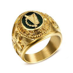 BA0265 BOBIJOO Jewelry Siegelring Ring Mann Irland Harfe, Kleeblatt-Brosche Tara