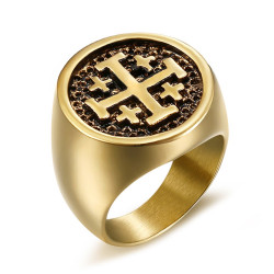 BA0266 BOBIJOO Jewelry Anello Uomo Templari, Ordine Del Tempio Di Gerusalemme