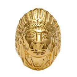 BA0267 BOBIJOO Jewelry Anello Uomo Indiano Alla Testa In Acciaio Placcato Oro