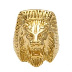 BA0268 BOBIJOO Jewelry Chevalière Bague Homme Tête de Lion Pharaon Acier Or