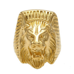 BA0268 BOBIJOO Jewelry Signet Ring Man of Lion-headed Pharaoh Steel Gold