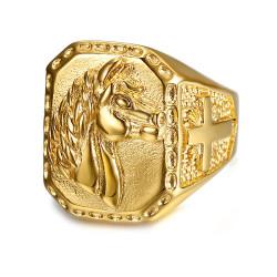 BA0270 BOBIJOO Jewelry Siegelring Ring Mann pferdekopf Edelstahl Gold Kreuz