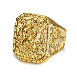 BA0271 BOBIJOO Jewelry Anello Uomo di Leone, testa in Acciaio Croce d'Oro