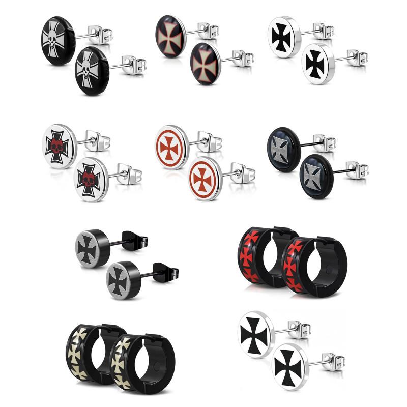 BOH0003 BOBIJOO Jewelry Lotto Set x 10 Coppie di Occhielli Orecchie Uomo Templari