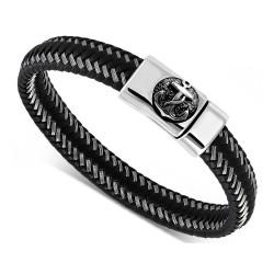BR0260 BOBIJOO Jewelry Armband-Mann-Echtes Leder-Schwarz-Stahl 316L nach Wahl