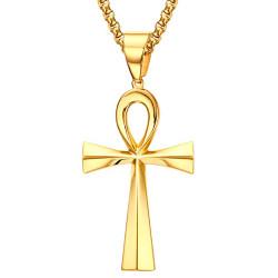 PEF0048 BOBIJOO Jewelry Ciondolo Croce della Vita Egiziana Acciaio Oro a Scelta + Catena