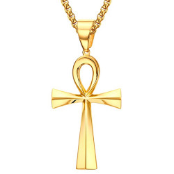 PEF0048 BOBIJOO Jewelry Pendant Cross of Life Egyptian Steel Gold Choice + Chain