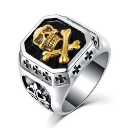 BA0122 BOBIJOO Jewelry Anello anello teschio Croce d'Oro dei cavalieri Templari
