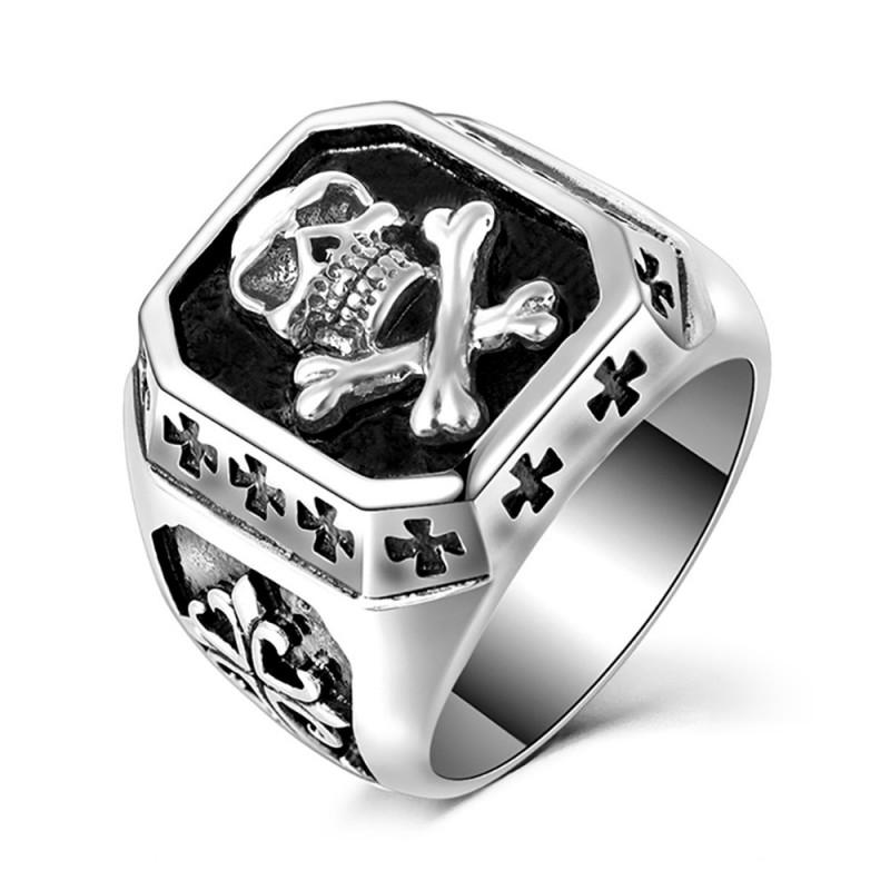 BA0202 BOBIJOO Jewelry Bague Chevalière Tête de Mort Biker Triker Croix Malte
