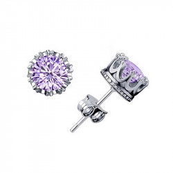 Earrings Diam's Solitaire Silver Plated Purple