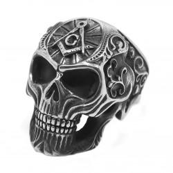 BA0273 BOBIJOO Jewelry Bague Chevalière Crâne Tête de Mort Franc-Maçonnerie