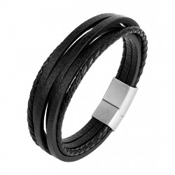 BR0262 BOBIJOO Jewelry Armband Mann echt Leder-Stahl 316L Multi zur Auswahl