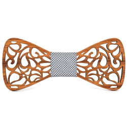 NP0044 BOBIJOO Jewelry Bow Tie Teak Wood Lace Arabesque