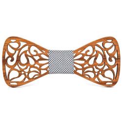 NP0044 BOBIJOO Jewelry Noeud Papillon Bois Teck Dentelle Arabesque