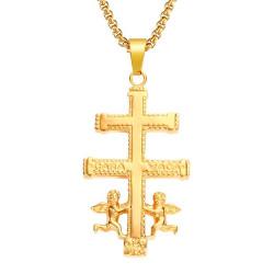 PE0156 BOBIJOO Jewelry Colgante Cruz de Caravaca, Chapado en Oro de Acero + Cadena