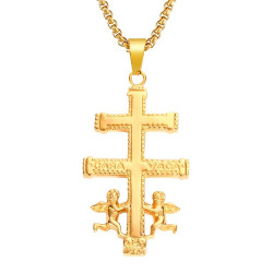 PE0156 BOBIJOO Jewelry Pendant Cross of Caravaca Gold-Plated Steel + String