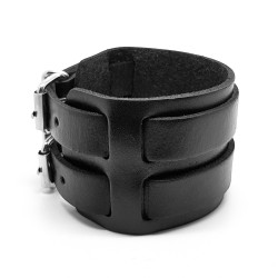 BR0010 BOBIJOO Jewelry Bracelet de Force Cuir Noir Double
