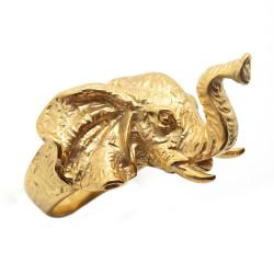 BA0276 BOBIJOO Jewelry Anello anello Testa di Elefante Acciaio Oro Uomo