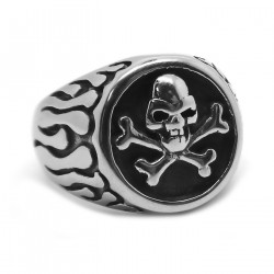 BA0278 BOBIJOO Jewelry Ring Signet ring Skull Death's Head Round the Flames