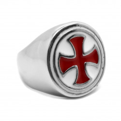 BA0279 BOBIJOO Jewelry Ring Signet Ring Round Knight Templar Cross Pattee Red