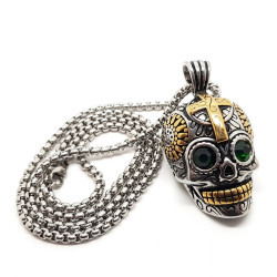 PE0157 BOBIJOO Jewelry Ciondolo teschio in Acciaio inox Argento Oro Maya Biker