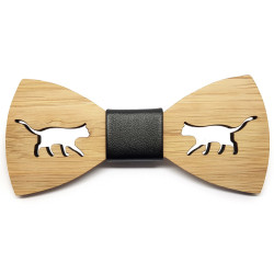 NP0051 BOBIJOO Jewelry Bow Tie Natural Wood Bamboo Animals
