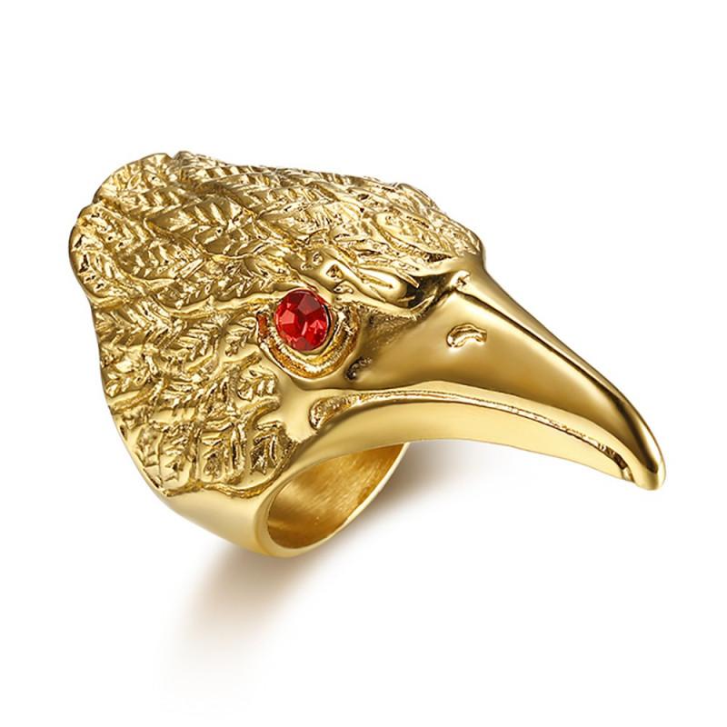 BA0283 BOBIJOO Jewelry Bague Chevalière Tête d'Aigle Yeux Rouges Acier Or