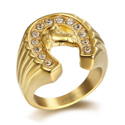 BA0284 BOBIJOO Jewelry Ring Signet Ring Horseshoe Traveler Steel Gold