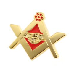 PIN0024 BOBIJOO Jewelry Pin de la Masonería apretón de manos de Oro Rojo de Correo electrónico