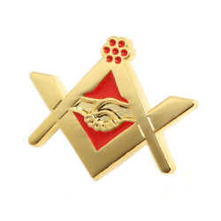 PIN0024 BOBIJOO Jewelry Pin Freemasonry handshake Red Gold Email