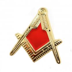 PIN0025 BOBIJOO Jewelry Anstecker Freimaurer Winkel Zirkel Gold-Rot e-Mail