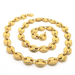 COH0011B BOBIJOO Jewelry Chain necklace Coffee bean Man Steel Gilded Gold finish 13mm