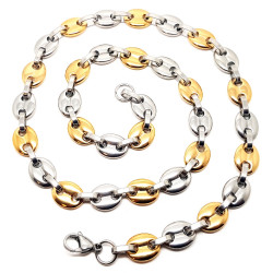 COH0019 BOBIJOO Jewelry Big Chain Necklace Coffee bean Bi-Color Gold-Plated Steel
