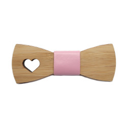 NP0054 BOBIJOO Jewelry Bow Tie Natural Wood Bamboo Woman Girl
