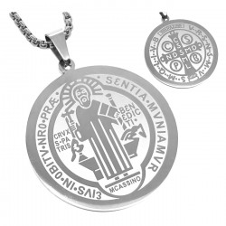 PE0159 BOBIJOO Jewelry Pendant Medal Necklace, St Benedict Steel, Silver + Chain