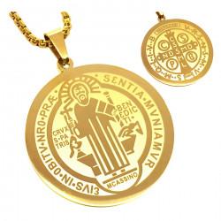 PE0160 BOBIJOO Jewelry Ciondolo Medaglia Collana, San Benedetto In Acciaio Placcato Oro + String
