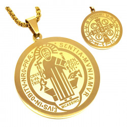 Pendant Medal Necklace, St Benedict Gold-Plated Steel + String