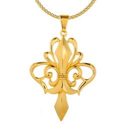 PE0161 BOBIJOO Jewelry Grande Ciondolo Collana con Fleur-de-Lis in Acciaio Placcato Oro + String