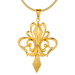 PE0161 BOBIJOO Jewelry Großer Anhänger Halskette Fleur-de-Lys Stahl Vergoldet + Kette