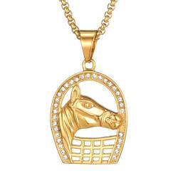 PE0162 BOBIJOO Jewelry Gold Plated Camargue Rhinestone Horseshoe Pendant + Chain
